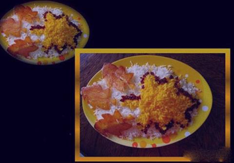 عکس آموزش انواع تزیین برنج با زعفران و زرشک