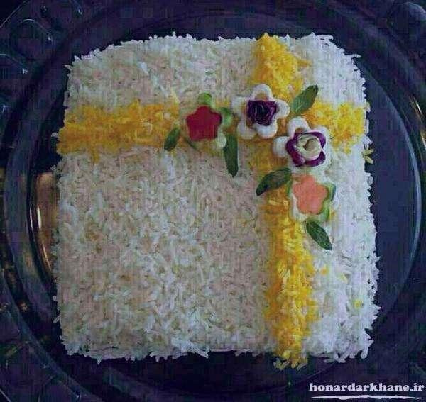 تزیین برنج , تزیین برنج با زعفران و زرشک , تزیین برنج مجلسی , تزیین برنج با زعفران