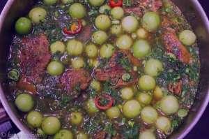 خورش گوجه سبز , طرز تهیه خورش گوجه سبز , روش پخت خورش گوجه سبز