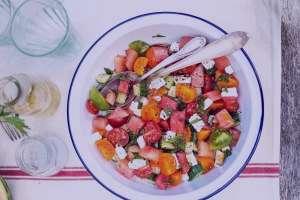 طرز تهیه سالاد هندوانه یونانی , سالاد هندوانه یونانی , سالاد هندوانه