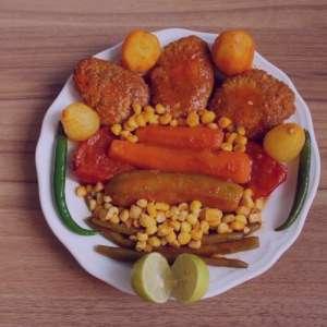 خوراک بوقلمون و سبزیجات , طرز تهیه خوراک بوقلمون و سبزیجات , دستور پخت خوراک بوقلمون و سبزیجات