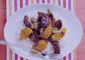 طرز تهیه خوراک گوشت با سس پرتقال و برنج , خوراک گوشت با سس پرتقال و برنج , خوراک گوشت با سس پرتقال