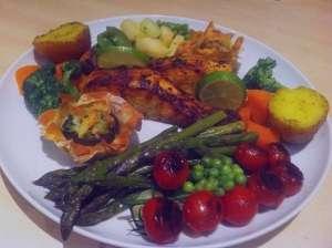 طرز تهیه ماهی و سبزیجات در فر , ماهی و سبزیجات در فر , ماهی و سبزیجات