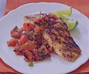 طرز تهیه ماهی سالمون کبابی با سالسا , ماهی سالمون کبابی با سالسا , دستور پخت ماهی سالمون کبابی با سالسا