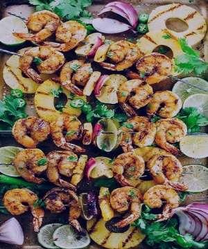 طرز تهیه کباب میگو و سبزیجات , کباب میگو و سبزیجات , کباب میگو