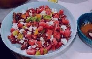 طرز تهیه سالاد هندوانه با گوجه , سالاد هندوانه با گوجه , دستور تهیه سالاد هندوانه با گوجه