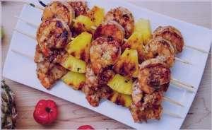 طرز تهیه گریل میگو و آناناس , گریل میگو و آناناس , کباب میگو و آناناس