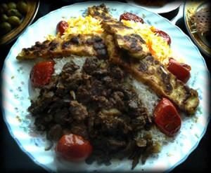 طرز تهیه پلو گوشت با کباب تابه ای مرغ , پلو گوشت با کباب تابه ای مرغ , کباب تابه ای مرغ